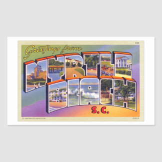 Postal retra del SC de Myrtle Beach del kitsch del Rectangular Pegatina