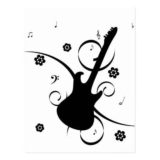 Postal retra enrrollada de la guitarra de la roca