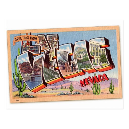 Postal retra Las Vegas Nevada del kitsch del
