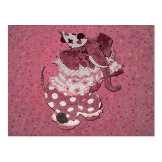 Postal retra rosada del elefante del circo