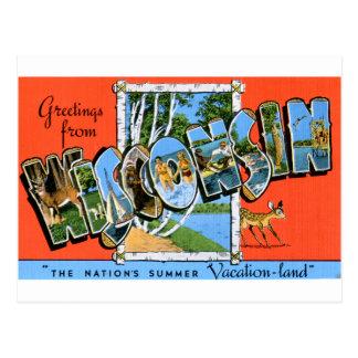 Postal retra Wisconsin del viaje del kitsch del vi