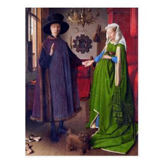 Postal: Retrato de boda en enero Van Eyck Postal