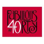 Postal roja blanca negra 40 fabulosos