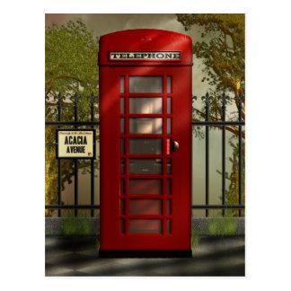 Postal roja británica de la cabina de teléfonos