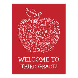 Postal roja de Apple de los profesores de la pizar