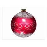 Postal roja de la bola del navidad