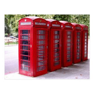 postal roja de la caja del teléfono