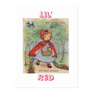 Postal roja de la capa con capucha del vintage lin