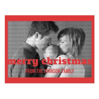 Postal roja de la foto de las Felices Navidad de l