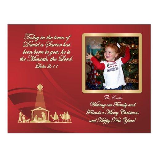 Postal roja de la natividad del navidad