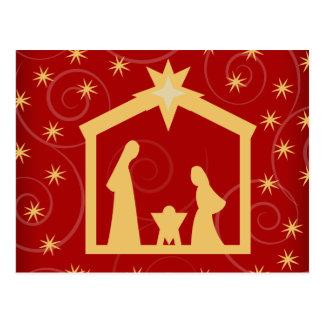 Postal roja de la natividad del navidad de la noch
