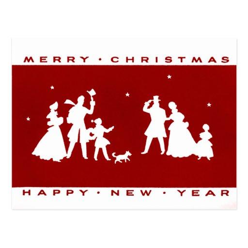Postal roja de la silueta del navidad del vintage