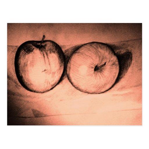 Postal roja de las manzanas