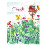 Postal roja de los amigos de la flor de mariposa d