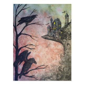 Postal roja de los cuervos y del castillo del ciel