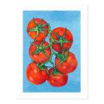 Postal roja de los tomates