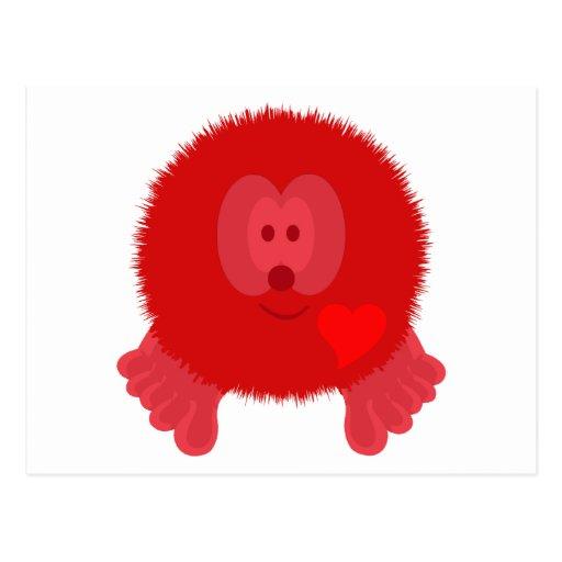 Postal roja de Pom Pom PAL del corazón