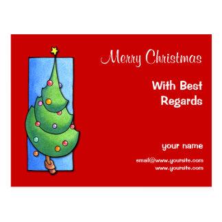Postal roja de recuerdos del árbol de navidad