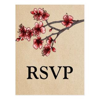 Postal roja de RSVP de las flores de cerezo del