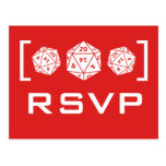 Postal roja de RSVP del videojugador de los dados