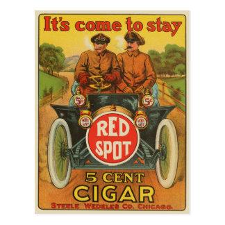 Postal roja del anuncio del cigarro del punto del
