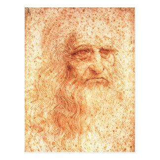 Postal roja del autorretrato de Leonardo da Vinci