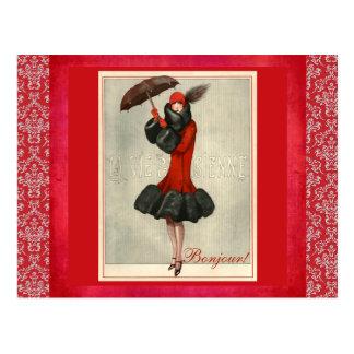 Postal roja del damasco de la moda del francés de