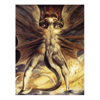 Postal roja del dragón de Guillermo Blake