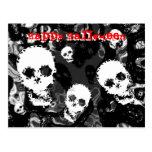 "Postal roja del ""feliz Halloween"" del b&W de los e"