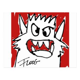 Postal roja del monstruo del dibujo animado