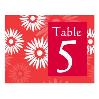 Postal roja del número de la tabla de la flor del