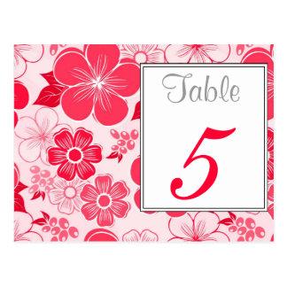 Postal roja linda del número de la tabla de las fl
