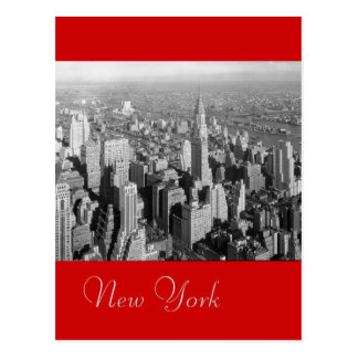 Postal roja negra y blanca de New York City del