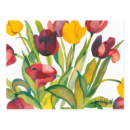 Postal roja y amarilla de los tulipanes
