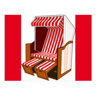 Postal roja y blanca del tema de la silla de playa