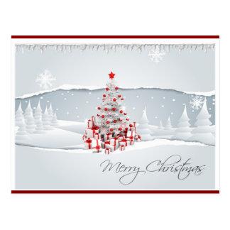Postal roja y blanca moderna del navidad del día d