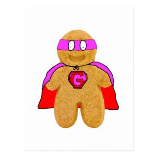 postal roja y rosada del superhéroe del hombre de