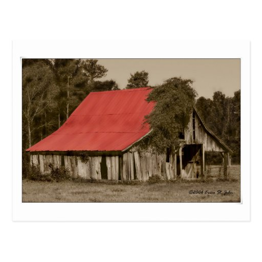 Postal Rojo-Cubierta dilapidada del granero