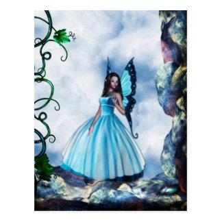 Postal romántica azul de la hada de la mariposa
