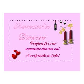 Postal romántica de la cupón de la cena