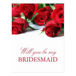 Postal romántica de la dama de honor de los rosas