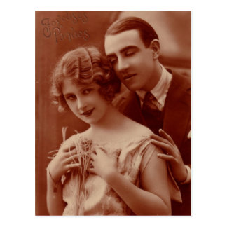 Postal romántica francesa de los pares del vintage
