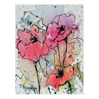 Postal rosada abstracta de las amapolas