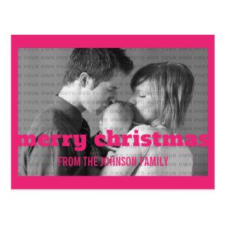Postal rosada de la foto de las Felices Navidad de