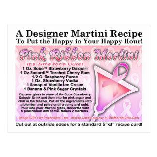 Postal rosada de la receta de Martini de la cinta