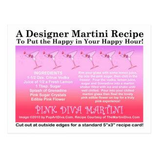 Postal rosada de la tarjeta de la receta de Martin
