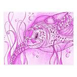 Postal rosada de la tortuga de mar
