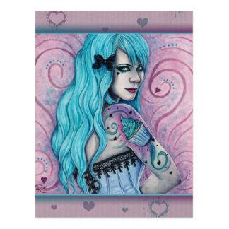 Postal rosada de la turquesa de los tatuajes de