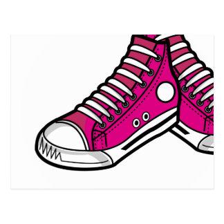 Postal rosada de la zapatilla de deporte del balon