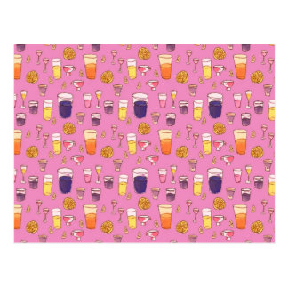 Postal rosada de las bebidas mezcladas
